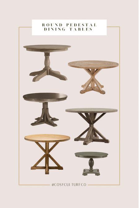 Farmhouse inspired round pedestal dining tables     #LTKfamily #LTKstyletip #LTKhome
