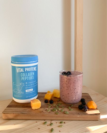 Here's a delicious healthy blueberry collagen smoothie packed with nutrients to help promote healthy skin, hair, and nails. http://liketk.it/3a30C #liketkit @liketoknow.it #LTKbeauty #StayHomeWithLTK #LTKhome @liketoknow.it.home Follow me on the LIKEtoKNOW.it shopping app to get the product details for this look and others