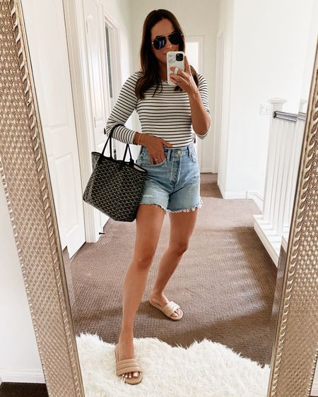 #nsaleoutfit Everyone needs this classic striped top! Size xs in the top, 26 in the shorts. #summeroutfit #agoldeshorts  #LTKSeasonal #LTKshoecrush #LTKsalealert