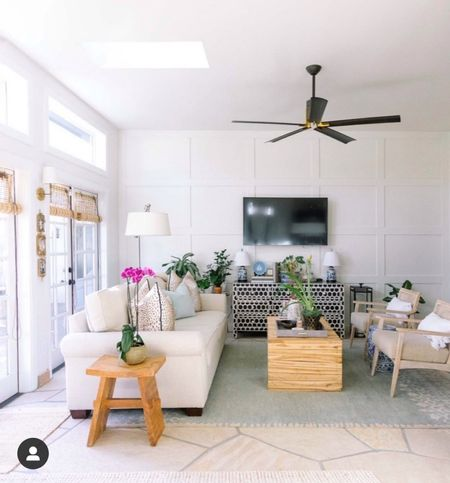 White living room grandmillennial meets contemporary traditional - we call this room the garden room   #LTKhome