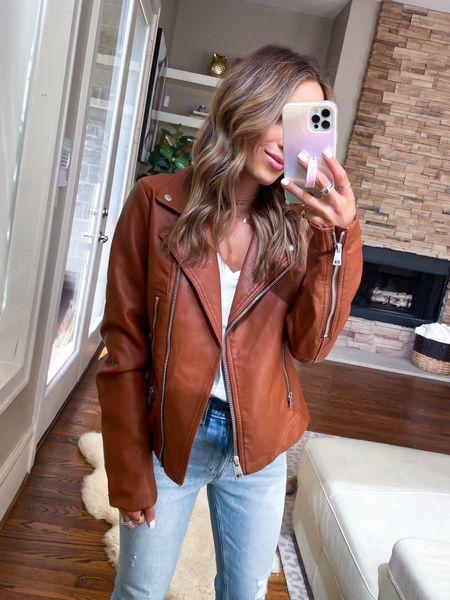 Faux leather moto jacket size Xs   #LTKunder50 #LTKsalealert #LTKunder100