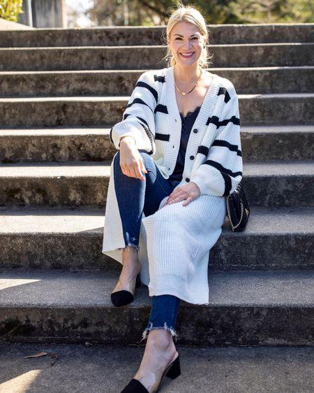 Stripe cardigan, cami, tall girls, tall blogger @liketoknow.it http://liketk.it/3etha #liketkit #LTKunder100 #LTKunder50 #LTKstyletip
