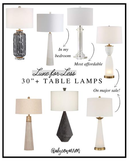 Scale up for a more expensive looking home! Tap over to Stories on Insta @alysewarren for more tips!   Table lamps, luxe for less, Alice Lane inspired, crystal, alabaster, ceramic, Wal Mart finds, Amazon finds, bedroom inspiration, nightstand, living room, console table  #LTKsalealert #LTKhome