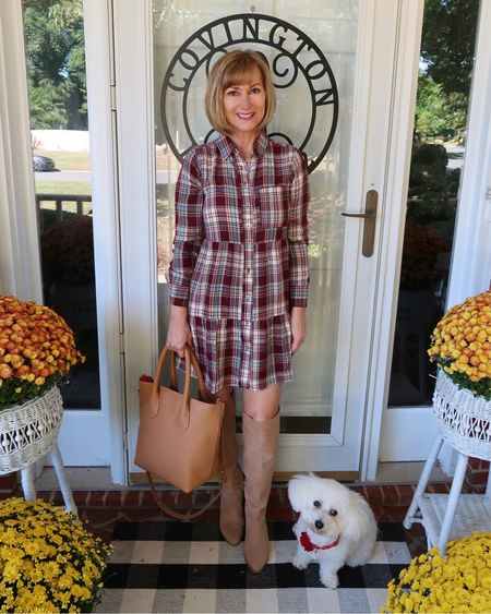 """Plaid tiered pocket shirt dress for fall! Wearing the xs and it's a great fit for my 5'4"""" frame. Fall fashion, fall style   #LTKSeasonal #LTKstyletip #LTKunder100"""