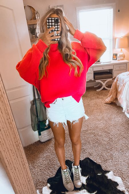 preppy summer outfit idea 💗 hot pink sweater, white denim shorts, and golden goose dupes! #LTKfit #LTKhome #LTKshoecrush http://liketk.it/3iWmy #liketkit @liketoknow.it Download the LIKEtoKNOW.it shopping app to shop this pic via screenshot