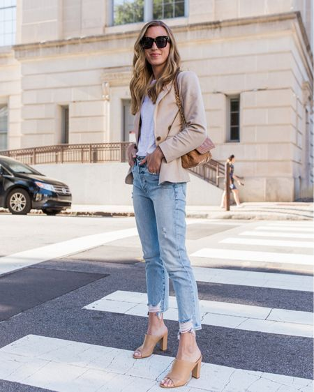 Favorite outfit from early Spring that could transition from summer to fall or be worn on casual Friday in the office. Blazer is lightweight and heels run TTS! I found that the jeans run one size small. http://liketk.it/3hrGM #liketkit @liketoknow.it