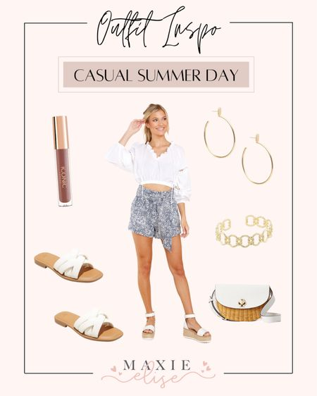 Summer Outfit Inspo For A Casual Day ☀️  #summeroutfitinspo #casualoutfit #summeroutfits #casualstyle #reddressboutique #whitetop #summerfashion #comfyshorts #outfitideas  #LTKSeasonal #LTKunder100 #LTKstyletip
