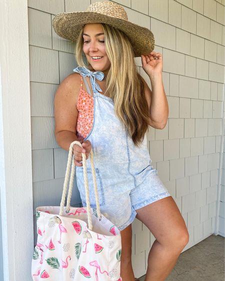 Sun hat Wide brim hat Vacation hat Beach bag Flamingo tote  #LTKSeasonal #LTKunder50 #LTKunder100