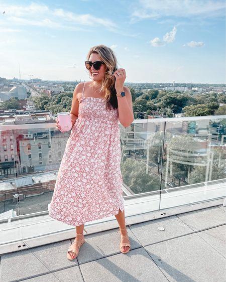 Cutest sundress, sunglasses, wrap sandals! Al fit tts. Also linking my cute wine tumbler that comes in over 40 color ways!! @liketoknow.it http://liketk.it/3jnpw #liketkit #LTKunder50 #LTKsalealert #LTKunder100 @jcrew J.Crew dress, JCrew #jcrew