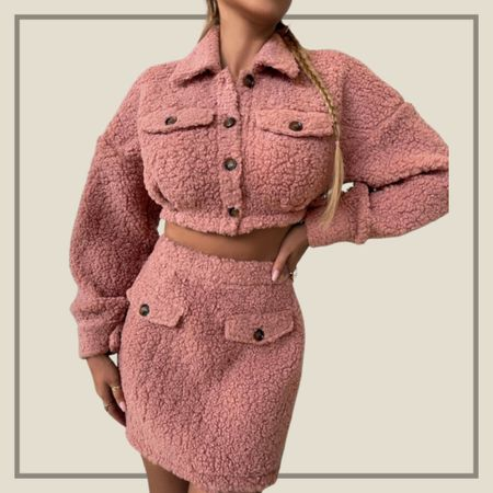 Matching teddy crop jacket and skirt set  #LTKstyletip #LTKunder50