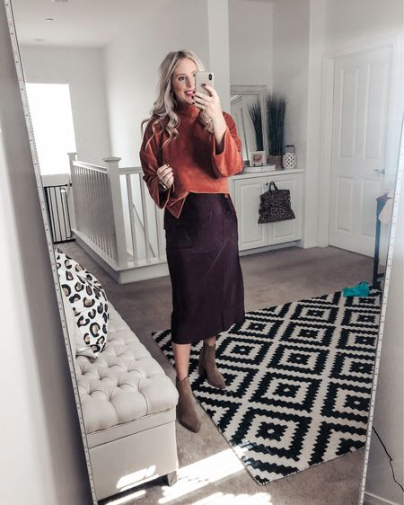 Loving this bold color combo  for fall 🍂 this slip midi skirt and sweater combo is perfect! Small sweater M skirt    http://liketk.it/2Xsap #liketkit @liketoknow.it #LTKsalealert #LTKstyletip #LTKunder50