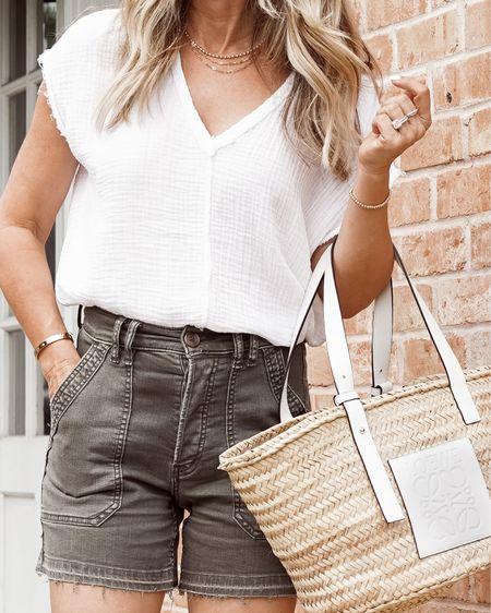 It off utility shorts, high waisted, TTS. Favorite gauze top with Lowe straw basket bag. Her Fashioned Life   #LTKunder100 #LTKSeasonal #LTKtravel