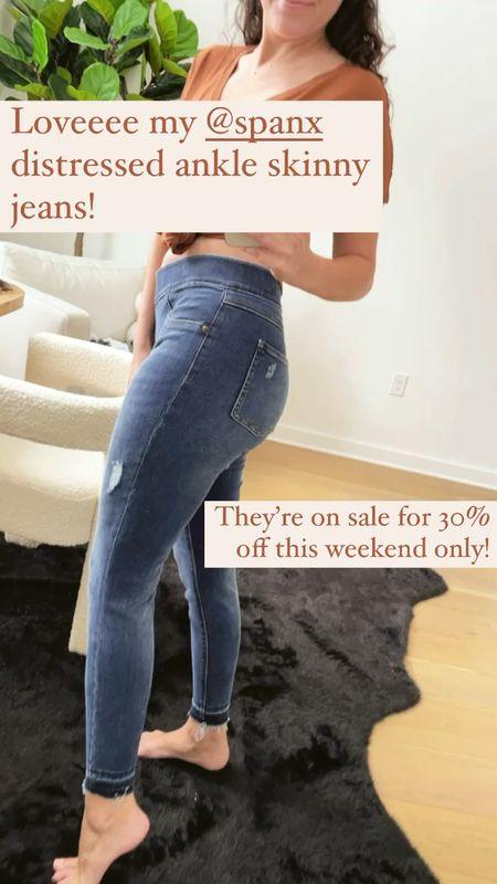 The best spanx denim! On super sale this weekend only! Wearing size Petite Small - sized up!  #LTKSeasonal #LTKsalealert #LTKunder100