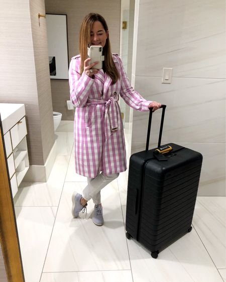 Another #rStheCon on the books! The rewardStyle conference was everything and then some! Gearing up for my flight home with some travel must-haves including this gingham trench coat and skinny white jeans. On the lookout for comfortable shoes? These Allbirds sneakers are essential and the best carryon luggage on the planet by Away. http://liketk.it/2AZbf #liketkit @liketoknow.it #LTKunder100 #LTKtravel #LTKspring