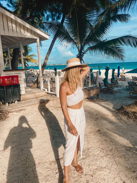 Asos outfit - asos skirt - slit leg skirt - mini skirt - tie skirt - straw hat - one shoulder top - crop top - bikini top - cropped top - co-Ord top and skirt - white two piece - holiday outfit - vacation outfit - woven hat - asos bikini   #LTKunder50 #LTKtravel #LTKeurope