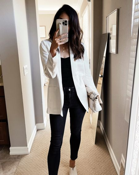 Express style, boyfriend blazer, workwear, work style, designer bag, body suit, StylinByAylin  #LTKstyletip #LTKunder100 #LTKsalealert