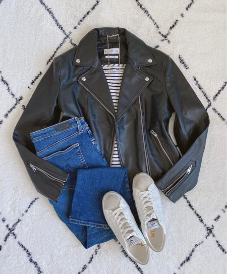Do you have a leather jacket?  Full review of this jacket coming tomorrow to the blog!    Shop this post on the@shop.ltkapp and follow@classyyettrendyon the app! Everything is also linked here ➡️ https://classyyettrendy.com/instagram-shop/  #capsulewardrobe#effortlessstyle#stylehunter#inspofashion#howtowear#mystylediary#simplestyling#fashionloverstyle#classicstyle#teamlessismore#keepingitsimple#styleoftheday#discoverunder50k#dailylooks#styletips#smartcasual#howtostyle#realoutfitgram#outfitideas4you#lessisworefemales#stylegram#ootdmagazine#fallfashion#simplestyle#explorepage#ootdsituation#cozyoutfit#instastyle #leatherjacket #flatlayoftheday #flatlaystyle  #LTKstyletip