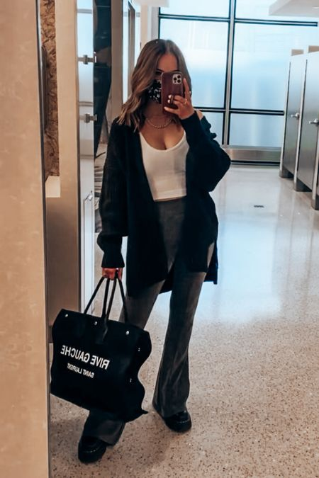 Travel outfit for today - wearing s in top, yoga pants & xs in cardigan  #LTKSeasonal #LTKtravel #LTKunder100
