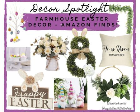 Easter spring house home decor farmhouse country chic style all from amazon and some Walmart finds! Wreaths, flowers, peeps, bunnies and more! What's your favorite?! Perfect for your patio, porch, outdoor living space furniture or dinning or living rooms!    Make sure you follow FrugalDealsDelivered on the LIKEtoKNOW.it app! Screenshot this pic to get shoppable product details with the LIKEtoKNOW.it shopping app http://liketk.it/39vxL #liketkit @liketoknow.it #LTKSeasonal #LTKsalealert #LTKhome @liketoknow.it.home