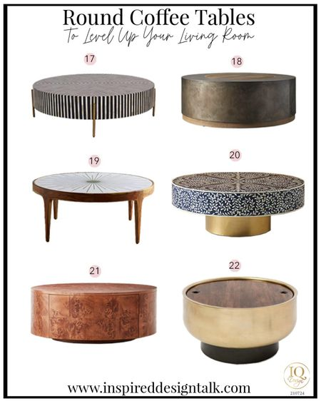 Awesome modern round coffee tables that will update your living room.  Living room decor, living room inspiration, home decor, home design, coffee table, drum coffee table, round coffee table, wood coffee table, inlay coffee table, storage coffee table.   You can instantly shop my looks by following me on the LIKEtoKNOW.it shopping app   #LTKstyletip #LTKhome #LTKbeauty