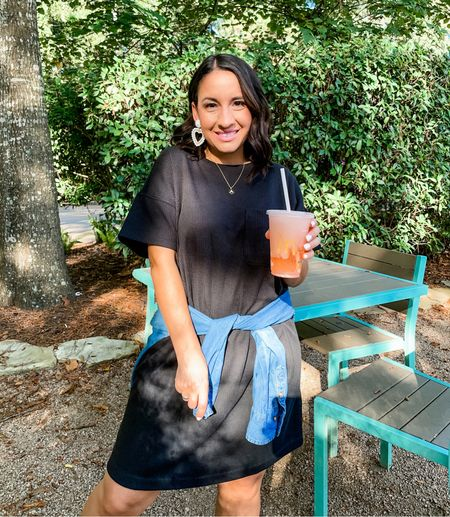 My Madewell ribbed dress is on sale for $45 regular $69. Runs pretty tts. Added a chambray button down to define my waist but any flannel you have would be quick    #LTKunder100 #LTKunder50 #LTKsalealert