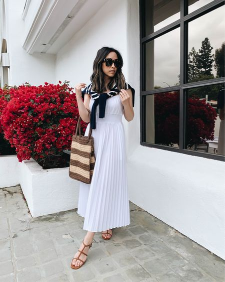 Best white dresses for summer.   Dress - J.crew xs Sweater - J.crew xs Sandals - J.crew 5 Bag - J.crew Sunglasses - Anine Bing (old)  http://liketk.it/3eMTQ #liketkit @liketoknow.it #LTKshoecrush #LTKitbag