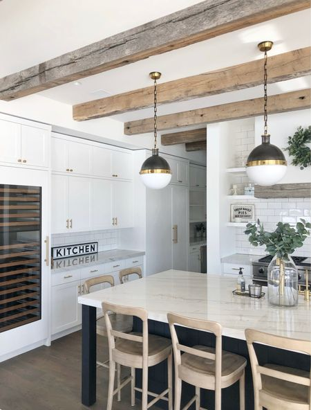 """H O M E \ Currently daydreaming about the new house💭💭 Specifically the KITCHEN!! The heart of a home and my favorite room🥰 I've been pining inspo all day. Here's what I know so far… there will be beam accents, light countertops, touches of white oak cabinetry and 💯 a La Cornue stove!!🙌🏻 Going for a """"modern ranch"""" with this house - one story, warm color palette, natural stones, wood accents, and a whole lot of windows to capture the views!! Indoor/outdoor👌🏻 I could go on and on!! Sharing my inspo over on stories and a link to my NEW house Pinterest board🙋🏻♀️ Let the designing begin!!  #kitchen #kitchendecor #homebuilding  #LTKhome"""