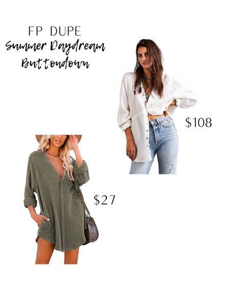 Free people dupe, Amazon fashion, amazon finds, fall fashion, fall button down.   #LTKunder50 #LTKSeasonal #LTKbacktoschool