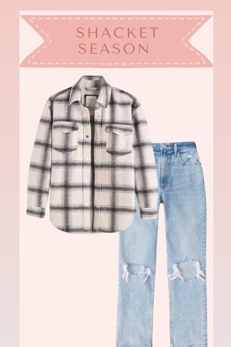 Shacket and jeans from Abercrombie on sale   #LTKSale #LTKsalealert #LTKstyletip