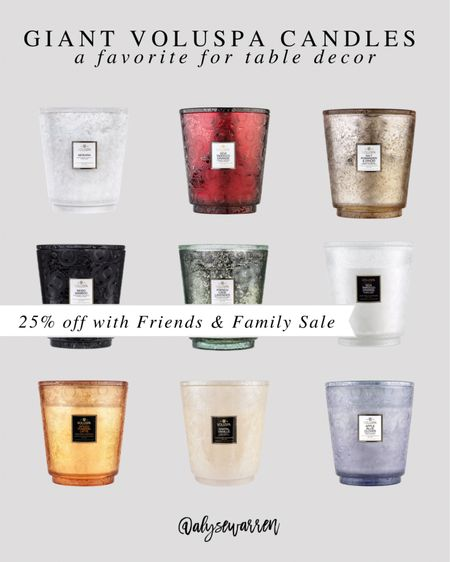 Giant 5-wick Voluspa candles on sale for the best price! I have one on our entry table, and I light it before guests arrive. The size is amazing!   Fall decor, pumpkin spice, Christmas decor, table decor, home decor, kitchen decor, living room, coffee table, ottoman, tray, bedroom, nightstand  #LTKhome #LTKsalealert