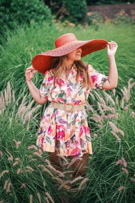 great day look for work or casual events.  summer dress, floral dress, summer ootd, summer dress inspo, summer trends, shein haul, lulus, oversized hat,   #LTKunder50 #LTKunder100 #LTKstyletip