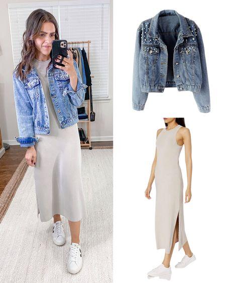Amazon fashion items I bought vs how I styled them! Cloud grey midi dress (xs), Pearl accent denim jacket (tts)   #LTKunder50 #LTKstyletip