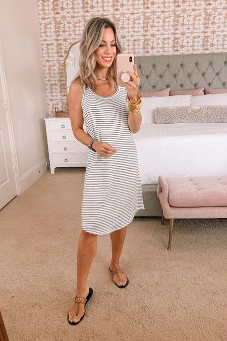 Stripe T-Shirt Dress and Kell Parker Sandals  Dress Fit : It may run slightly large, I'm wearing an XS, and would prefer XXS.    http://liketk.it/3hDeX #liketkit @liketoknow.it #LTKstyletip #LTKshoecrush #LTKunder50