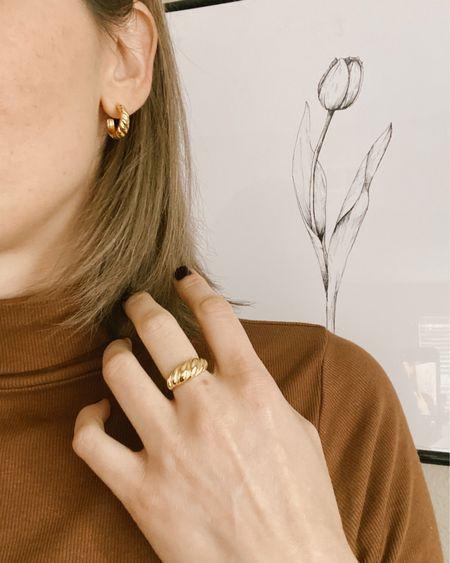 Croissant Hoops and ring in Gold • Minimalist Earrings and hoops set • Etsy   http://liketk.it/35JKs #liketkit @liketoknow.it #LTKunder50 #LTKsalealert