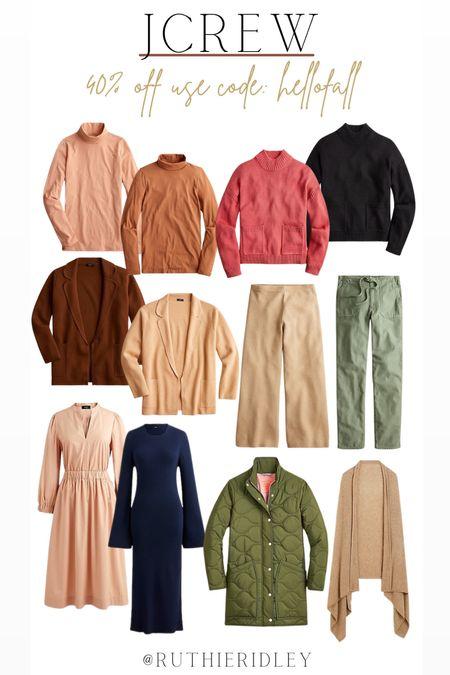 Jcrew 40% off use code HELLOFALL🙌🏾🙌🏾  J.Crew dresses sweatshirts tops Joggers Midi  Dresses puffer jackets turtlenecks fall fashion fall design   #LTKSeasonal #LTKsalealert #LTKstyletip