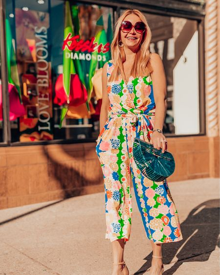 Linking one of my favorite brands for color, print, and patterns Julie Brown! This exact jumpsuit is not available, but I've linked a two-piece set that is just as bright and fun for summer. Their pieces fit TTS. I wear my normal S in tops and dresses, XS in pants. The material is stretchy, but not has enough give that it is flattering and drapes well. Shoes are linked. Earrings and layered necklaces are also linked. I wear this jewelry all the time because it's elegant and simple. Shop my daily looks by following me on the LIKEtoKNOW.it shopping app. http://liketk.it/3k0O3 #liketkit @liketoknow.it #LTKstyletip #LTKunder100