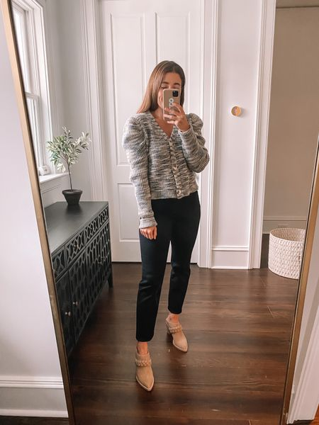Prettiest cardigan, amazing fitting jeans and braided mules! #evereve