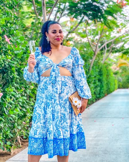 Tropical vacation blue dress perfect for your next vacay! Wearing a size 12, and it's true to size with stretch. Shop my blue cut out long sleeve dress, acrylic flower earrings and straw clutch handbag http://liketk.it/3iuf7 @liketoknow.it #liketkit #LTKtravel