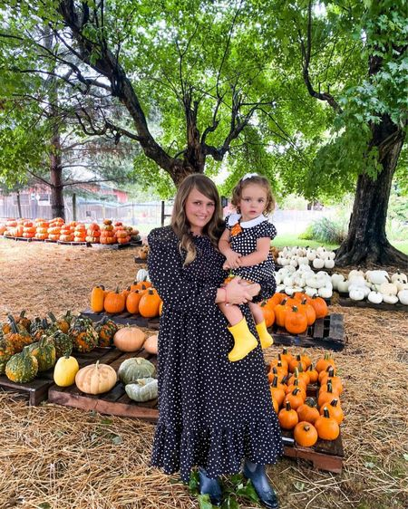 Polka dot midi dress for fall!