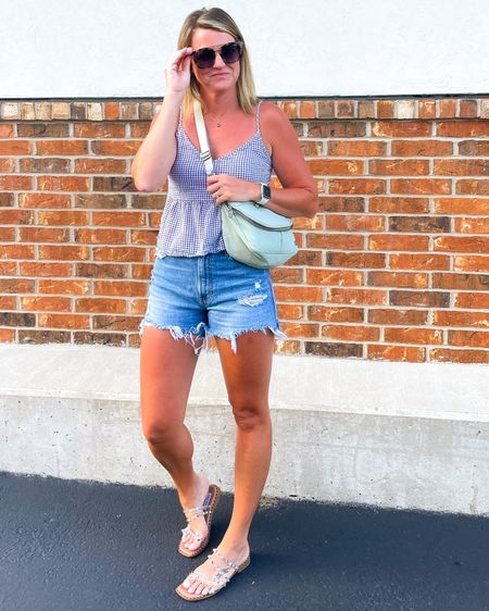 This festival bag is the perfect summer bag.   This  peplum cami comes in a few prints and is super comfortable and flattering   These are some of my favorite shorts. They are high waisted and TTS.   These clear sandals go with everything. They are surprisingly comfortable and TTS    http://liketk.it/3ijYh #liketkit @liketoknow.it #LTKsalealert #LTKshoecrush #LTKunder50