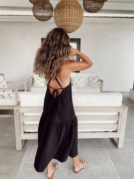 Black low back dress… great lightweight material for summer… comes in three colors, I sized down.    #LTKstyletip