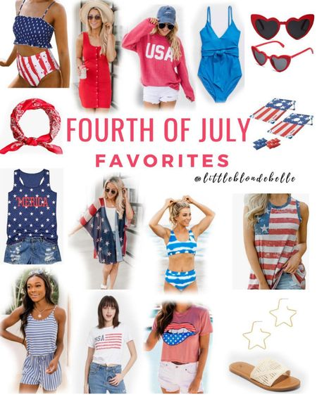 Fourth of July Inspo ❤️💙 . . .  http://liketk.it/3ih1A #liketkit @liketoknow.it #LTKstyletip #LTKunder50 #LTKunder100 Fourth of July, swimsuit, Amazon, pink lily boutique, graphic tee, earrings, sandals, backyard bbq, 4th of July party, Amazon finds, swimsuits, beach hat, summer dress, sunglasses