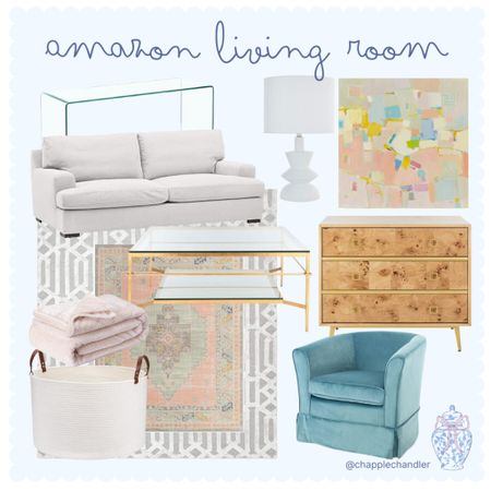 Amazon Living Room furniture home decor sofa couch rug coffee table accents burled wood chest of drawers modern lamp white lamp lighting block art glass acrylic lucite console table blue velvet armchair accent chair basket throw blanket access   #LTKhome #LTKunder100 #LTKunder50