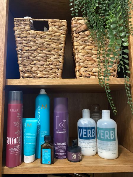 My hair products! I use the mask once a month if I remember and the oil two to three times a month before I curl. I have dry coarse hair, so the dry conditioner is a life saver. Linked my exact curling iron also
