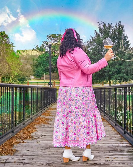 Somewhere over the rainbow is a glass of rosé🌈  What's in your glass this Sunday Funday?🥂  Transforming this gorgeous pink floral print maxi #LTKstyletip  dress into a winter fit by pairing it with a pink faux leather jacket and white booties! Shop my look: @liketoknow.it #liketkit http://liketk.it/36ckE #LTKVDay #LTKunder100