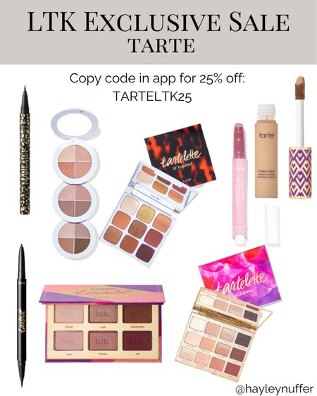 Tarte has the prettiest eyeshadow palettes and their shape tape concealer is a staple for so many! A great time to stock up!   #tarte #makeup #beauty #eyeshadow  #LTKbeauty #LTKunder100 #LTKsalealert