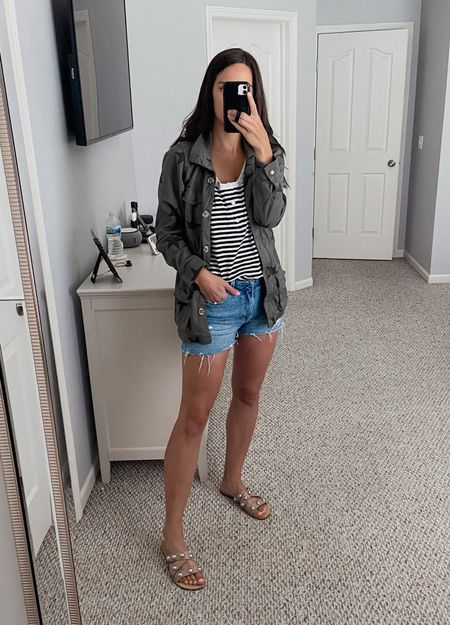 Jacket is a medium  Tank is a medium   Walmart find, Walmart fashion, target find, target fashion, casual outfit, summer outfit, transition to fall outfit   #LTKunder50 #LTKstyletip #LTKSeasonal