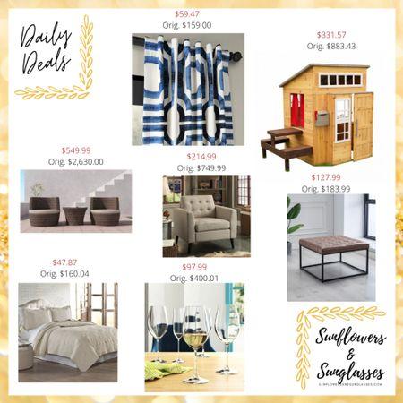 Way fair sale items: home decor, patio furniture, ottoman, quilt, wine glasses, curtains, playhouse, arm chair  #LTKhome