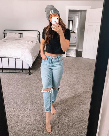Beanie/Crop top/Mom jeans #ootd  http://liketk.it/39Cdn #liketkit #LTKunder50 #LTKunder100 #LTKcurves @liketoknow.it