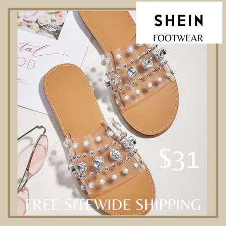 Clear rhinestone decor slide sandals from Shein and free sitewide shipping today   http://liketk.it/3hZdr #liketkit @liketoknow.it #LTKunder50 #LTKshoecrush #LTKstyletip You can instantly shop my looks by following me on the LIKEtoKNOW.it shopping app
